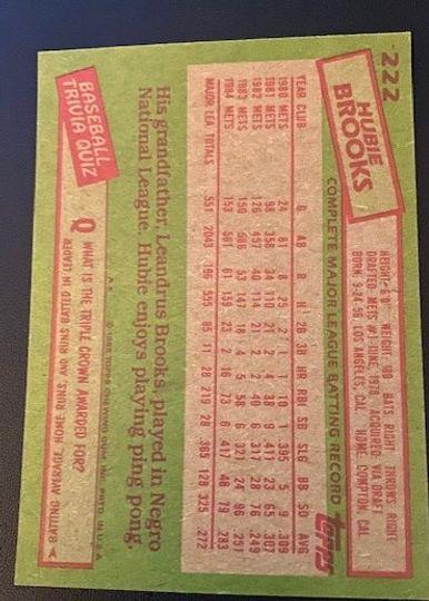 1985 Topps Mets Hubie Brooks 222 Item Image