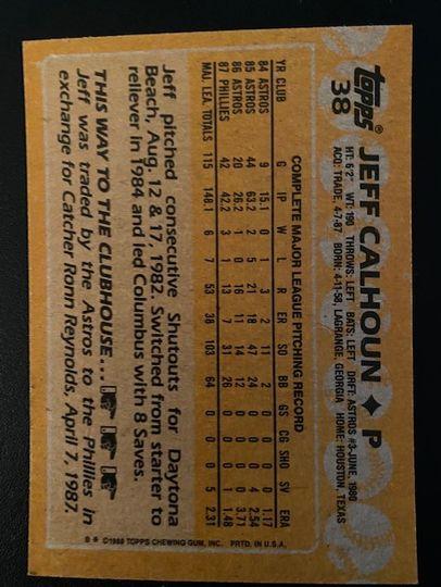 1988 Topps Phillies Jeff Calhoun 38 Item Image
