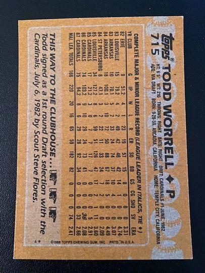 1988 Topps Cardinals Todd Worrell 715 Item Image
